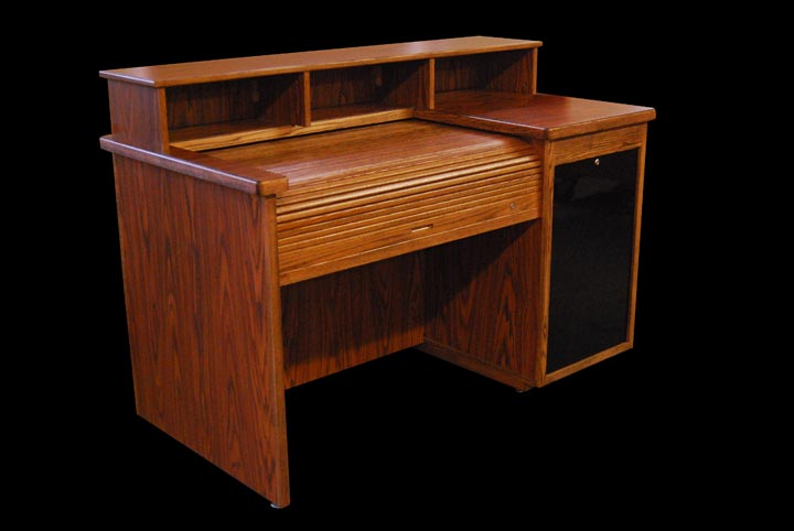 ... Wood Rolltop Mixing Console Desk ...